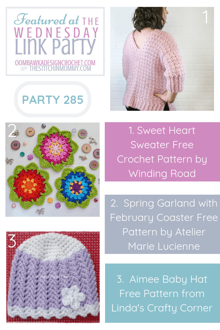 Sweet Heart Sweater Free Crochet Pattern Spring Garland with February Coaster Free Pattern Aimee Baby Hat Free Pattern 2