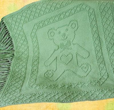 Blue Goodnight Teddy Bear Moon and Stars crochet graphgan blanket ... | 385x400