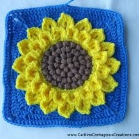 Crocodile Stitch Sunflower Square Crochet Pattern