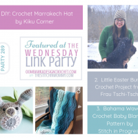 Featured Favorites Wednesday Link Party 289 Marrakech Hat Easter Bunny and Bahama Waves Blanket FB