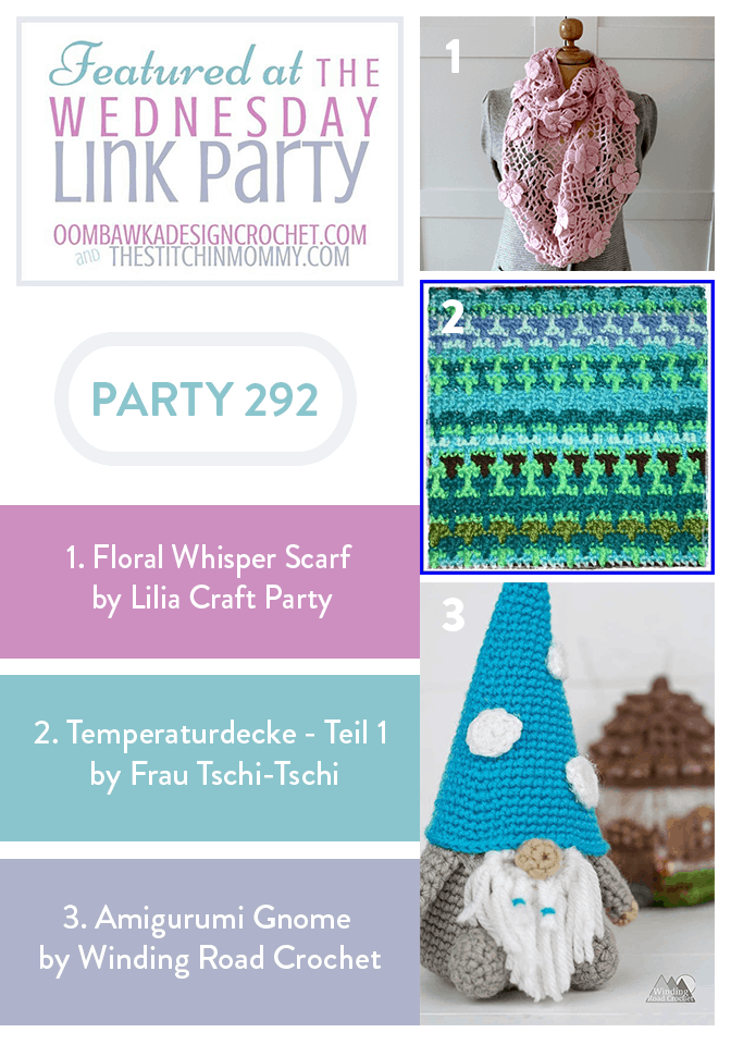 Featured Favorites from Wednesday Link Party 292 include Floral Whisper Scarf temperaturdecke and amigurumi Gnome