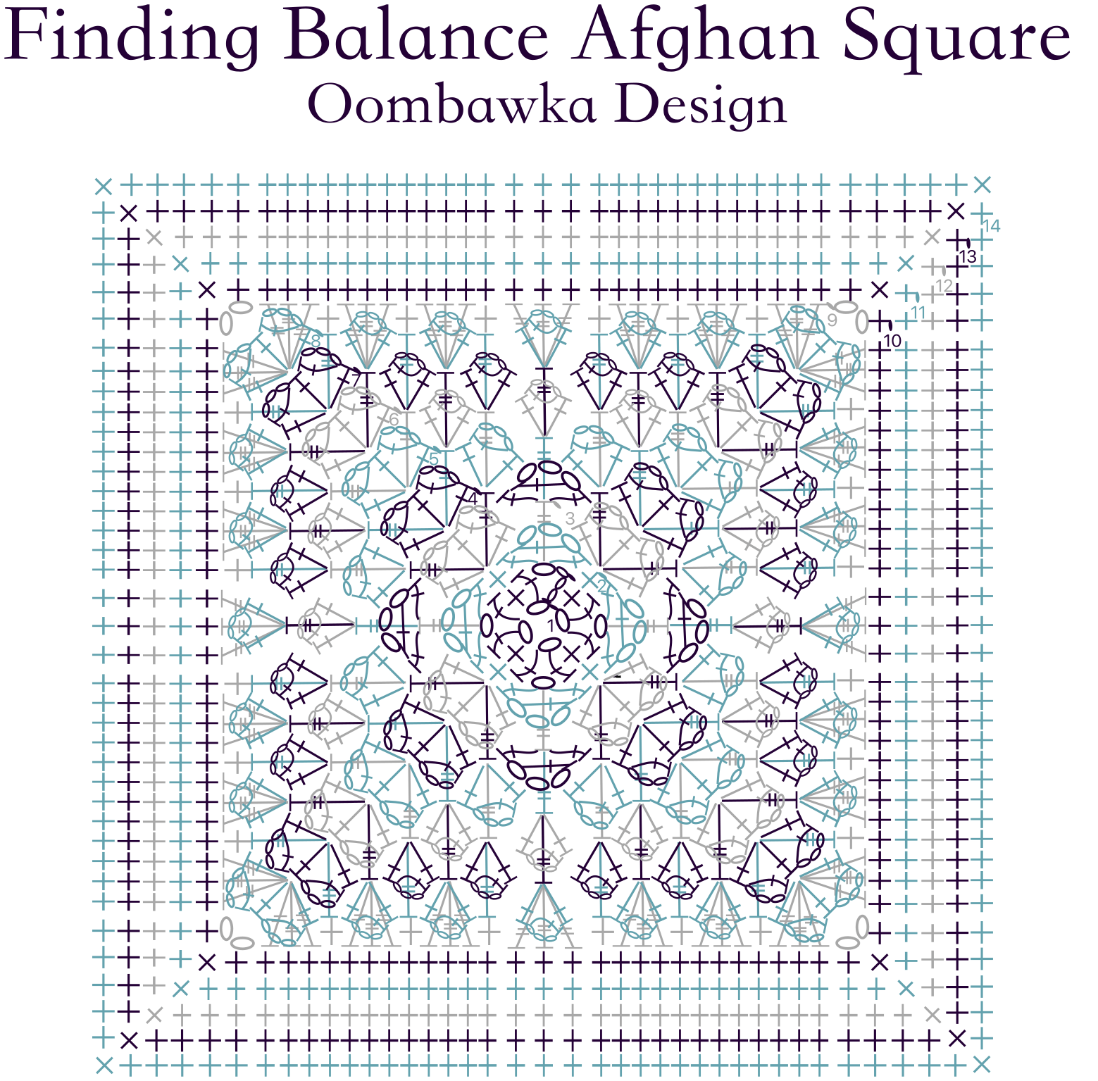 Finding Balance Afghan Square Pattern. Original Design by Rhondda Mol Oombawka Design Crochet 2019