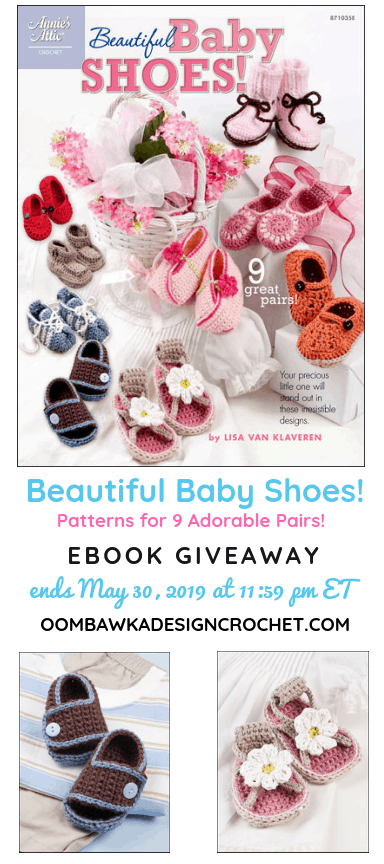 Beautiful Baby Shoes Giveaway Annies Craft Store Oombawka Design Crochet ends May 30 2019