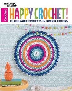 Cover Happy Crochet Leisure Arts Book Review by Rhondda at Oombawka Design Crochet