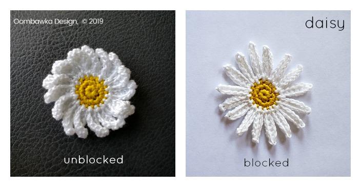 Daisy blocked and unblocked oombawkadesigncrochet