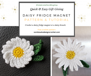Free Pattern Daisy Fridge Magnet or Daisy Brooch with tutorials oombawkadesigncrochet 2
