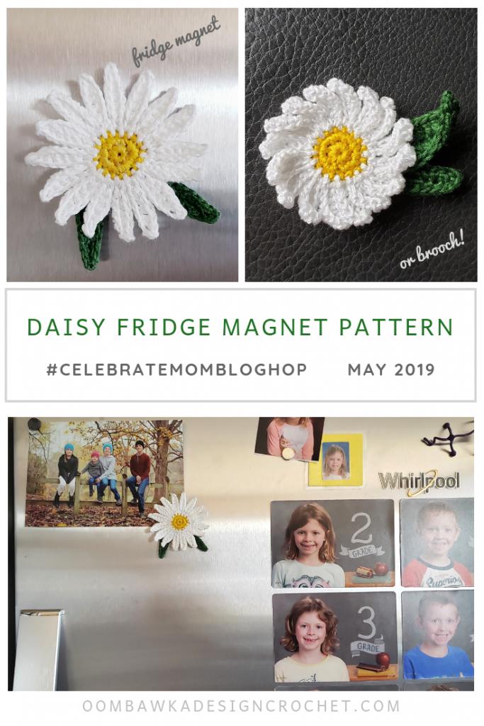 Free Pattern Daisy Fridge Magnet or Daisy Brooch with tutorials oombawkadesigncrochet
