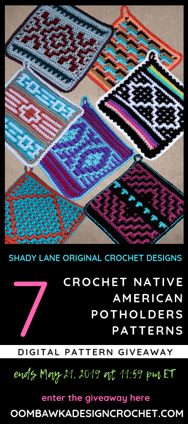 Native American Potholders Review and Giveaway at Oombawka Design Crochet ends May 21 2019 1159 pm ET