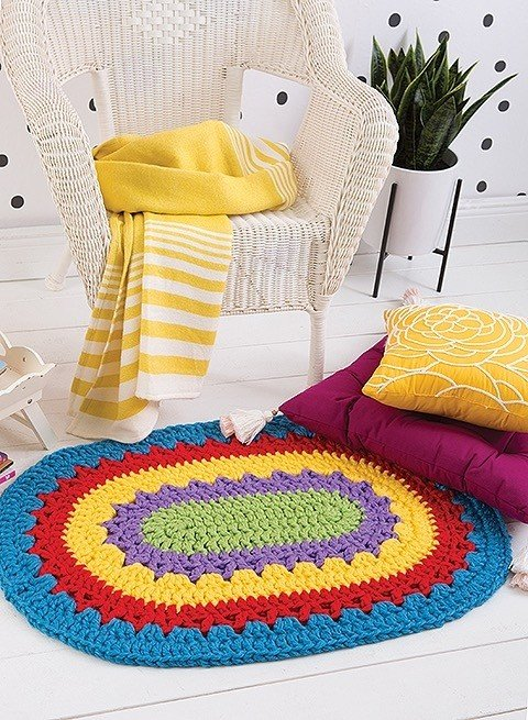 Oval Rug Happy Crochet Leisure Arts Book Review by Rhondda at Oombawka Design Crochet