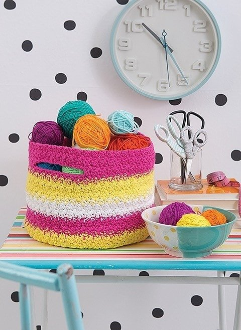 Striped Basket Happy Crochet Leisure Arts Book Review by Rhondda at Oombawka Design Crochet