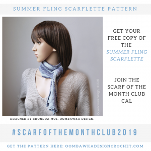 Summer Fling Scarflette Pattern May Scarf Of the Month Club 2019 Oombawka Design Crochet 2