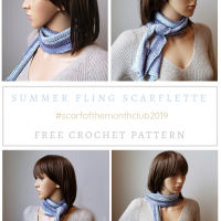 Summer Fling Scarflette Pattern May Scarf Of the Month Club 2019 Oombawka Design Crochet