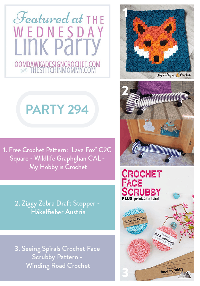 Wednesday Link Party 294 Features Include Lava Fox Ziggy Zebra and Spirals Face Scrubby Patterns PIN