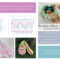 Wednesday Link Party 297 Features Operation Gratitude Crochet & Knit Donations How to Convert C2C to DC Tutorial and Japanese Knot Bag Pattern FB