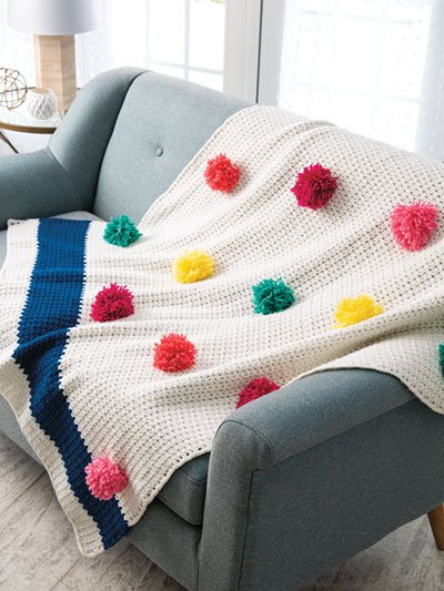 Pompom Throw Crochet Home. Annies Craft Store