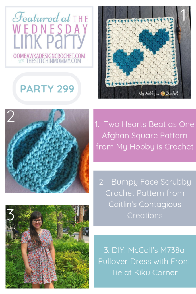 Featured Favorites at Wednesday Link Party 299 Include Two Hearts Beat as One Afghan Square Bumpy Face Scrubby Pullover Dress with Front Tie