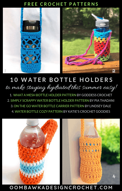 10 Free Patterns: Crochet Water Bottle Holders. These water bottle holders will help you carry your water with you when you are on the go this summer! Unique patterns including creative o-ring slings and carriers to use for your water and mobile phone have been included!