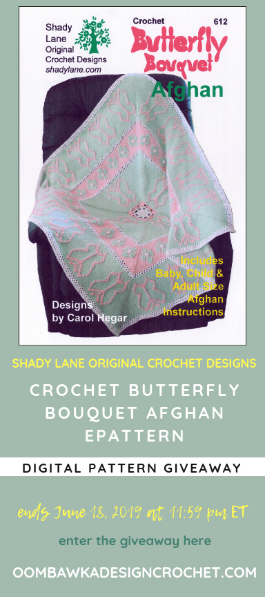 Giveaway Butterfly Bouquet Afghan ePattern from Shady Lane Original Crochet Designs ends June 18 2019