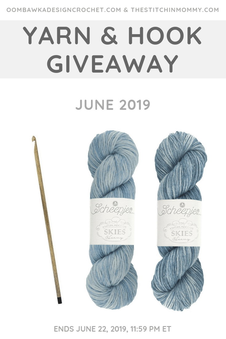 The June Yarn and Hook Giveaway with Amy and Rhondda includes a brand new yarn! Our June Yarn prize pack includes 2 skeins of this brand-new Scheepjes Skies Heavy Yarn and a beautiful Lykke Driftwood hook! Enter before June 22, 2019 at 11:59 pm ET!