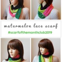 Watermelon Lace Scarf Pattern Scarfofthemonthclub2019 June Free Pattern 3