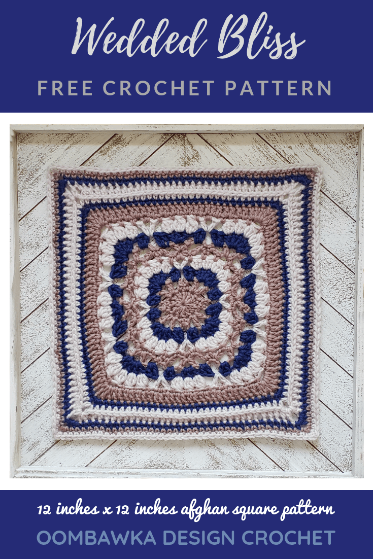 Get the free pattern for the Wedded Bliss Afghan Square today! #weddingblanketCAL #joycreators #redheartyarns #freepatterns #afghansquare