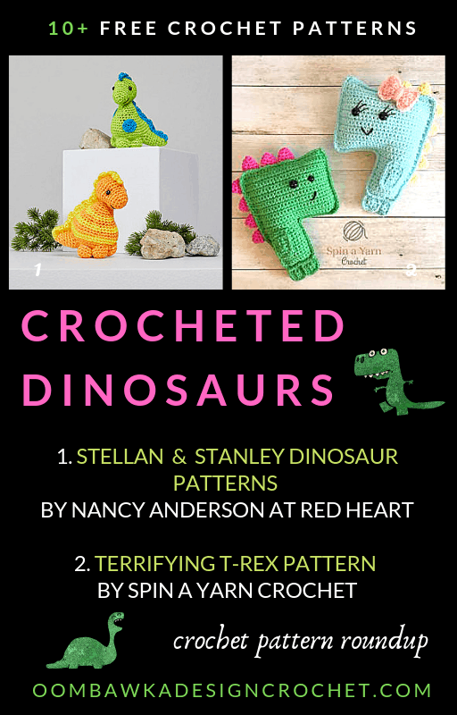 This free crochet dinosaur pattern roundup includes patterns for the Brontosaurus, Triceratops, the Stegosaurus, the T-Rex and more!