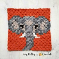 Elephant C2C Square - Wildlife Graphghan Block 10 - My Hobby is Crochet