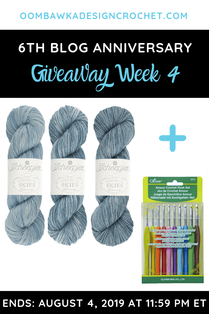 This is the final giveaway to celebrate Oombawka Design Crochet turning 6 ! Thank you for visiting and crocheting my patterns these past 6 years!