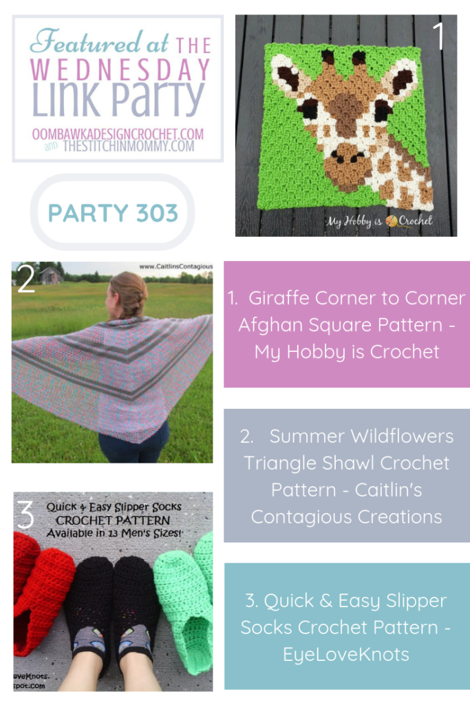 Featured Favorites at Wednesday Link Party 303 include 3 free crochet patterns