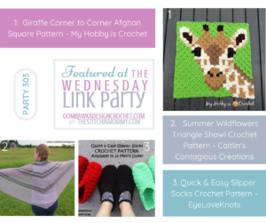Featured Favorites at Wednesday Link Party 303 include 3 free crochet patterns FB