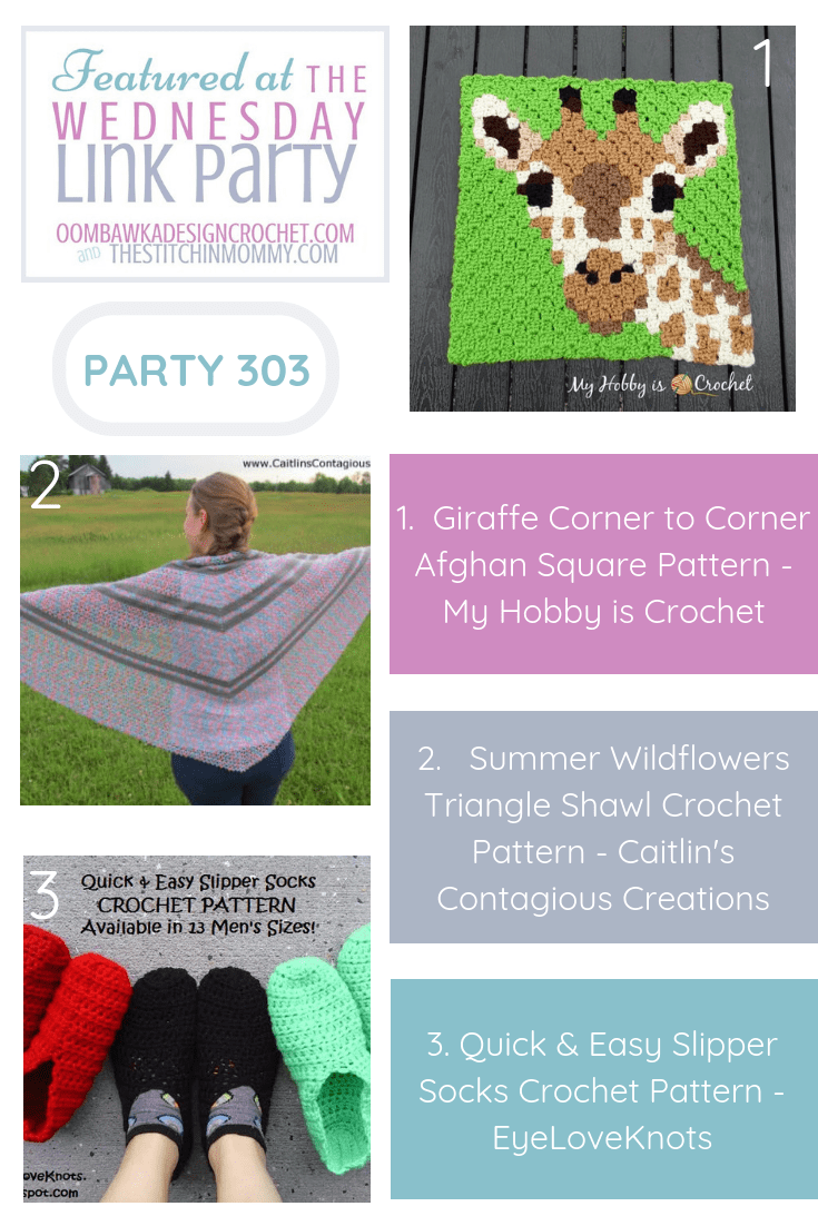 This week our three featured projects include an adorable Giraffe Corner to Corner Afghan Square Pattern, the pretty Summer Wildflowers Triangle Shawl Crochet Pattern and a great slipper socks pattern that is available in 13 different Men\'s Sizes! Each of these patterns is available for free!