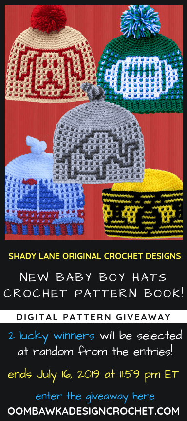 New Baby Boy Hats Crochet Pattern eBook Giveaway ends July 9 2019 1159pm ET