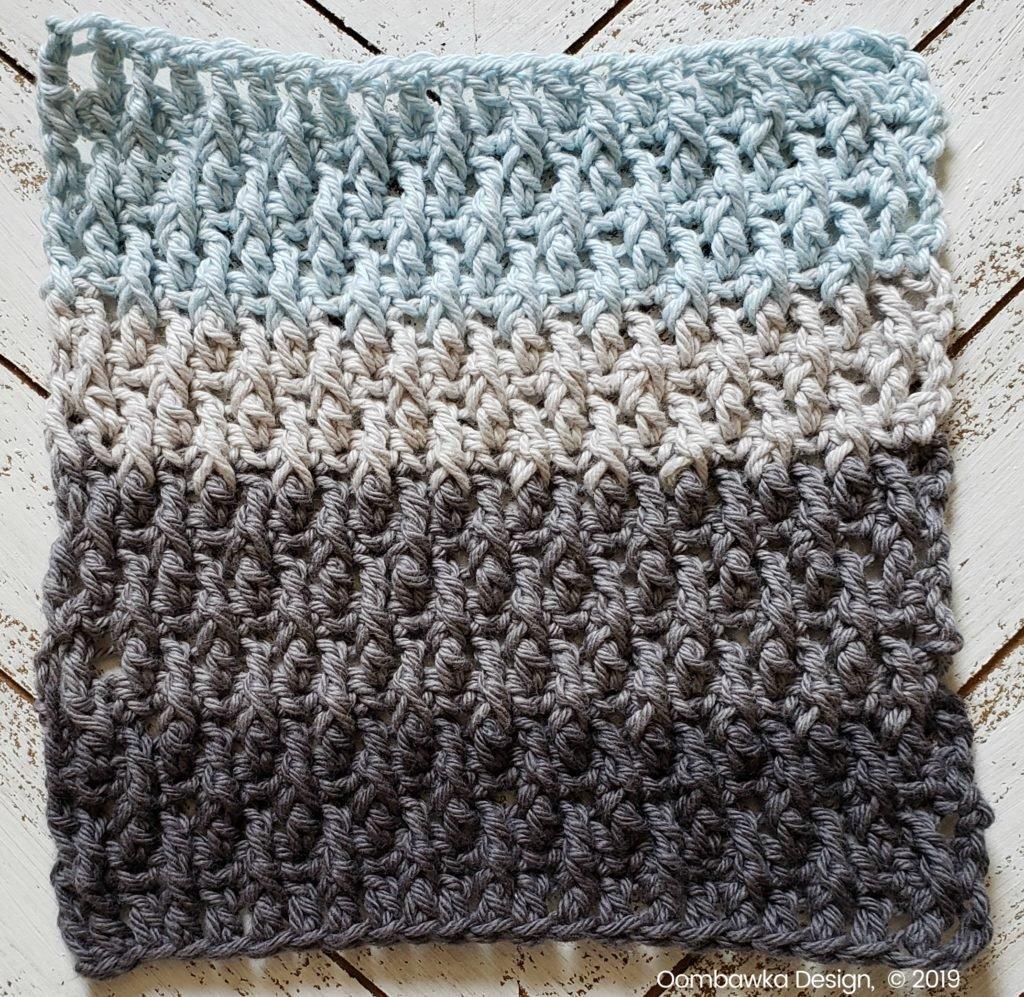 Tranquil Washcloth Row 16 to 21 Oombawka Design Crochet