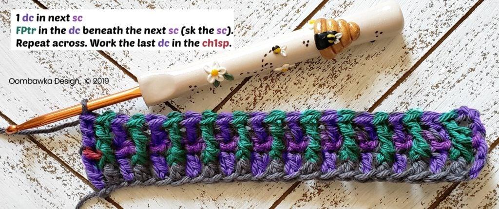 Tranquil Washcloth Row 3b Oombawka Design Crochet
