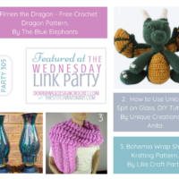 Wednesday Link Party 305 Features an Adorable Crochet Dragon Pattern - DIY How to Use Unicorn Spit - Bohemia Wrap Shawl Knitting Pattern