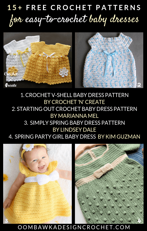 15+ Free Easy To Crochet Baby Dress Patterns are included in this week\'s Free Pattern Friday Roundup! #freepatterns #babycrochet #babydress #crochetroundup #crochet
