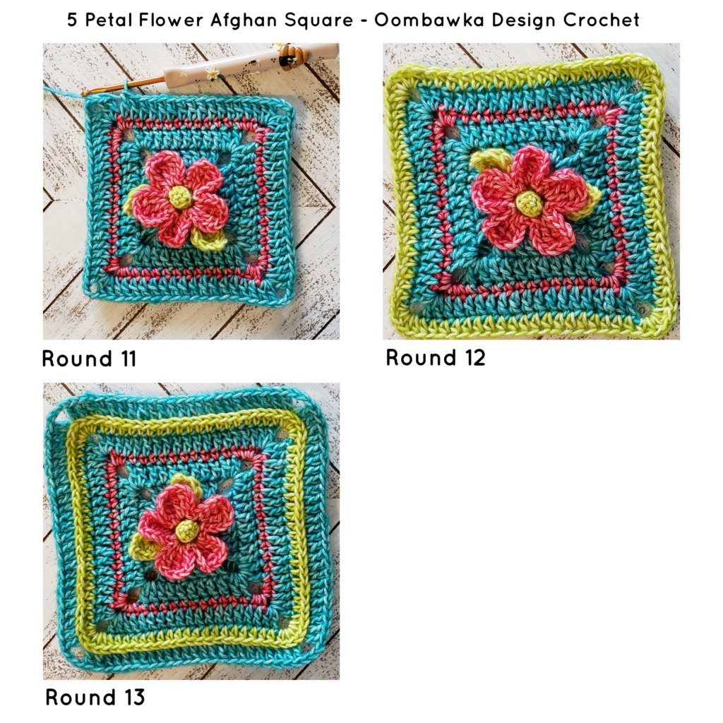 5 Petal Flower Afghan Square ODC Tutorial R11 to 13