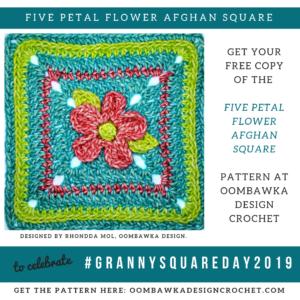 5 Petal Flower Afghan Square Pattern Oombawka Design Crochet instagram