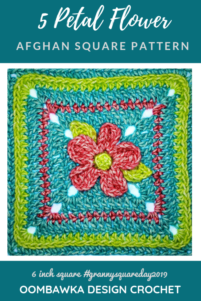 5 Petal Flower Afghan Square Pattern Oombawka Design Crochet pin