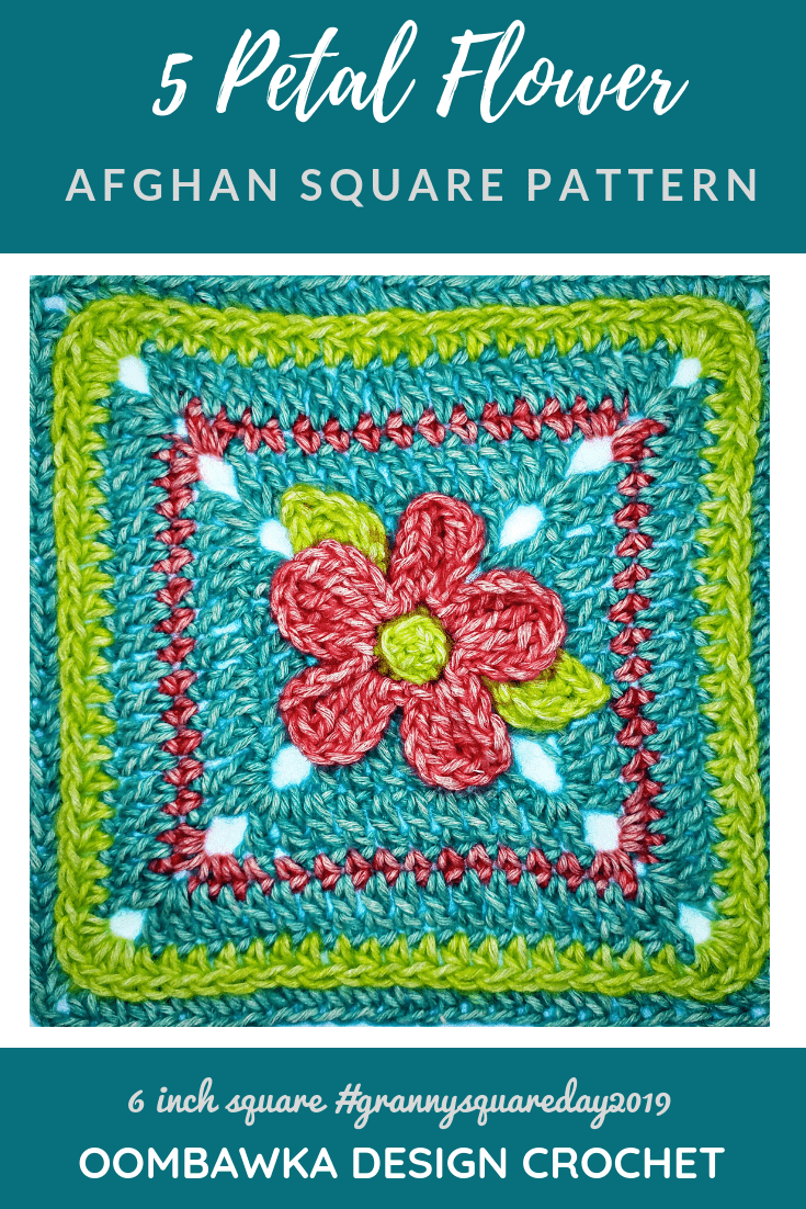 Five Petal Flower Afghan Square Pattern