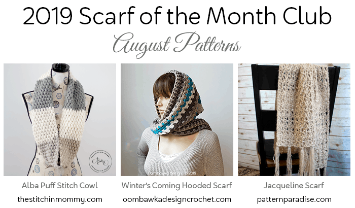 August Scarf of the Month Club Patterns