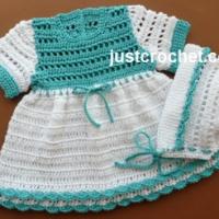 Cotton Dress and Bonnet Pattern Set