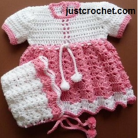 Baby Dress and Bonnet Pattern Set