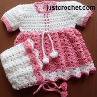 Baby Dress and Bonnet Pattern Set