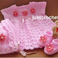 Baby Dress, Bonnet and Shoes Pattern Set