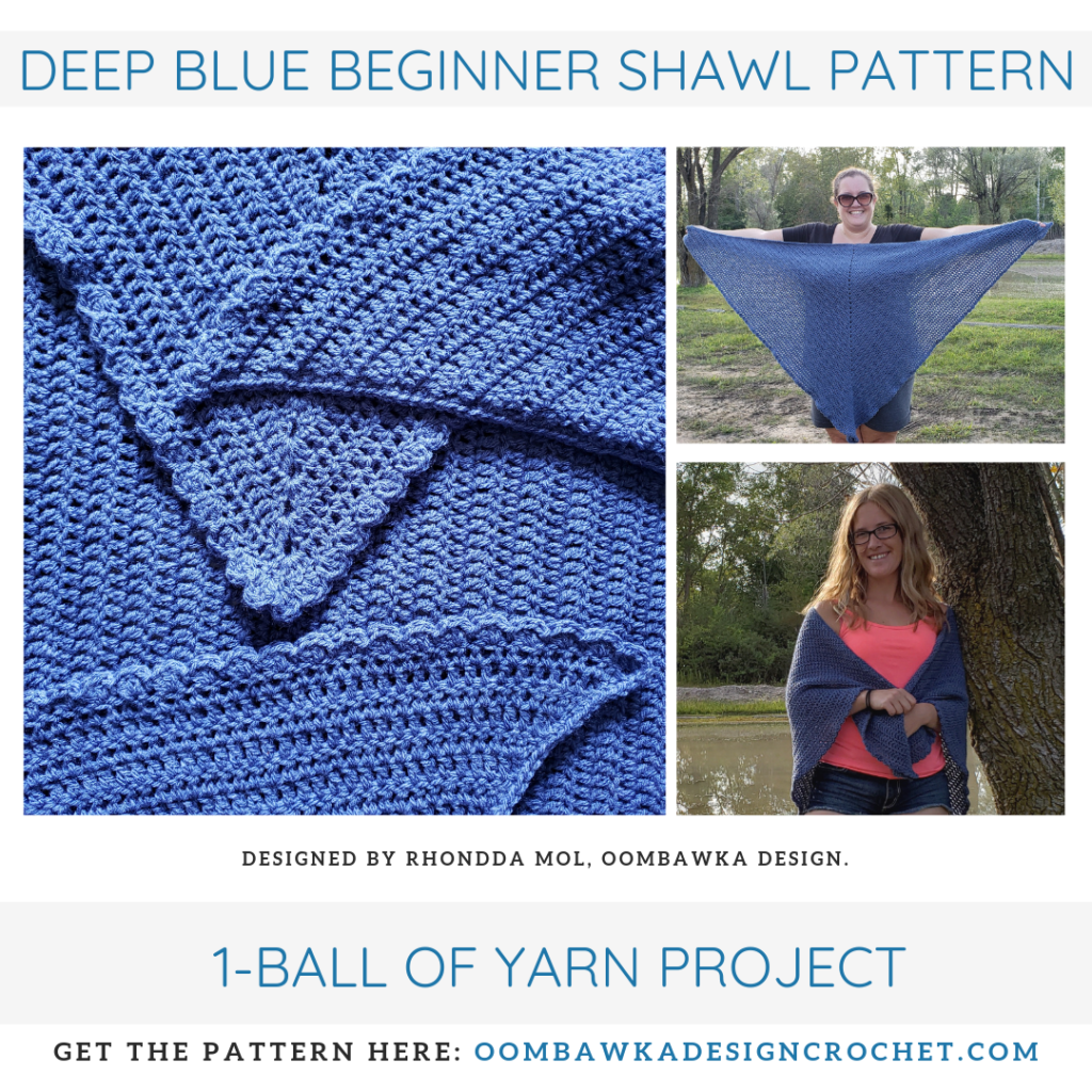 Deep Blue Beginner Shawl Pattern OOMBAWKADESIGNCROCHET