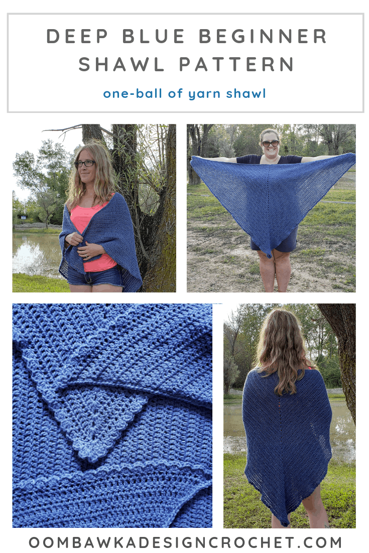 Deep Blue Beginner Shawl Pattern. 🧶 This free crochet shawl pattern uses one ball of DK Weight Yarn. It is easy to make smaller, or larger too! It is a plus-sized shawl (for me - 3X) but also works as an oversized shawl for my sister (size Small) and she loves that she can snuggle into it. 🧶 This is an everday shawl. You can get the free pattern from my site, or the ad-free PDF with stitch diagram, from my shop. #shawl #crochet #freepattern #redheartyarns #joycreators