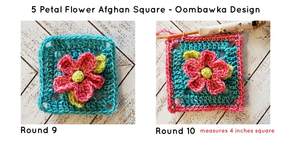 Five Petal Flower Afghan Square ODC Tutorial R8 and 9