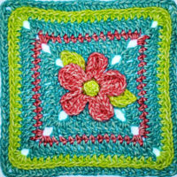 5 Petal Flower Afghan Square Pattern by Rhondda Mol of Oombawka Design Crochet