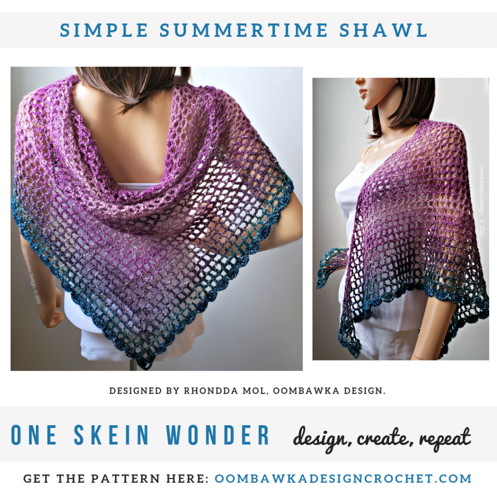 Simple Summertime Shawl Pattern - Rhondda Mol - Oombawka Design Crochet